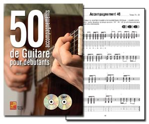 50 accompagnements de guitare pour débutants de Bruno Tauzin - Livre + CD MP3 + DVD